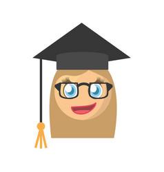 graduate female emoticon cartoon design vector image