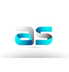 Grey blue alphabet letter as a s logo 3d design vector