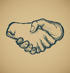 Hand draw sketch vintage style hand shake vector