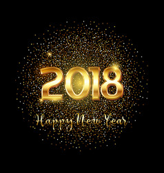 happy new year gold text background vector image