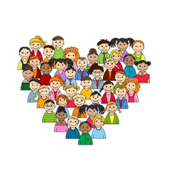 Heart of children and teenagers vector image