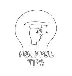 helpful tips freehand drawn man with doodle style vector image