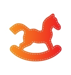 Horse toy sign Orange applique isolated vector image