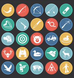 hunting icon set on color circles black background vector image