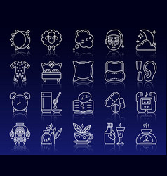 Insomnia simple white line icons set vector
