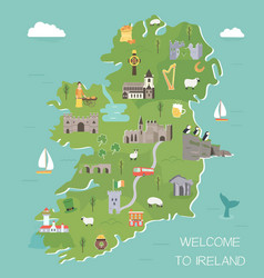 Irish map with symbols of ireland destinations vector