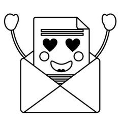kawaii email envelope letter message cartoon vector image