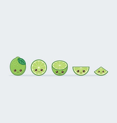 lime set drawn cute kawaii food faces vector image
