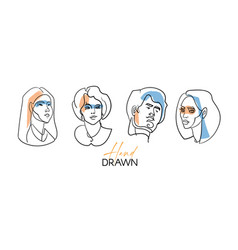 Line portraits set contemporary drawing in modern vector