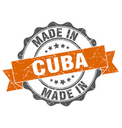 made in cuba round seal vector image vector image