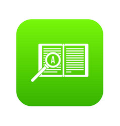 Magnifying glass over open book icon digital green vector