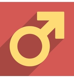 Male Symbol Flat Longshadow Square Icon vector