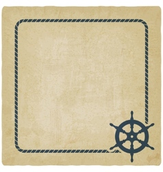 marine background with steering wheel vector image