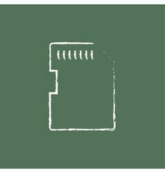 Memory card icon drawn in chalk vector image