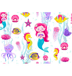 mermaid seamless pattern vector image