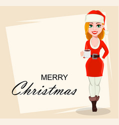 Merry christmas woman in santa claus costume vector