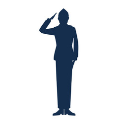 Military man silhouette icon vector