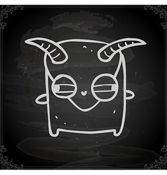Monster with Horns Drawing on Chalk Board vector
