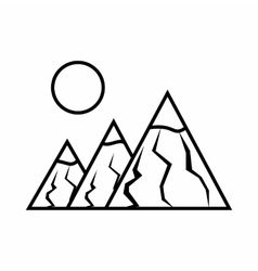 Mountains with sun icon outline style vector