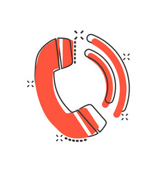 Phone icon in comic style telephone call cartoon vector