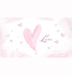 pink heart shape on watercolor splash texture vector image