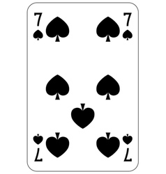 Poker playing card 7 spade vector image vector image