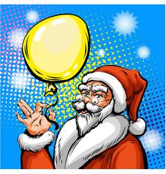 pop art santa claus in red vector image