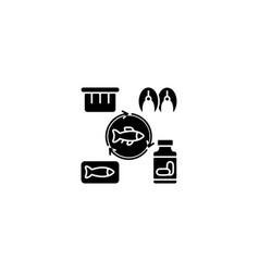 Producing fish products black glyph icon vector