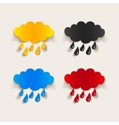 Realistic design element cloud rain vector