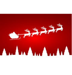 santa claus is flying with a reindeer team in the vector image
