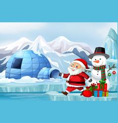 Scene with santa and snowman vector