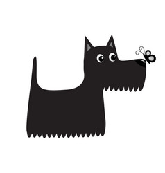 Scottish terrier black dog looking to butterfly vector