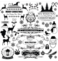 Set christmas decorations and labels vector