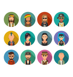 set icon different subcultures people hipster vector image