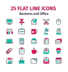 Set of 25 flat line icons vector image