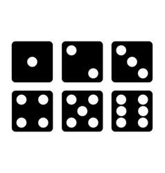set of black dice icon six dice vector image