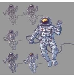 set of cosmonauts vector image