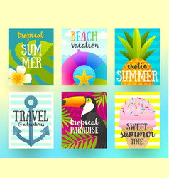 set summer holidays and vacation posters vector image