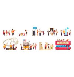 Sightseers excursion compositions set vector