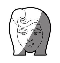 Silhouette shading of face woman with pin up swirl vector