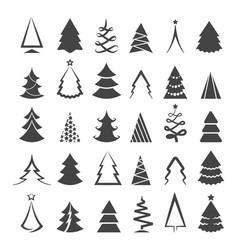 Simple christmas tree icons vector