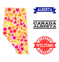 Star mosaic map of alberta province and grunge vector