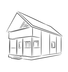 Suburban wooden house black sketch vector