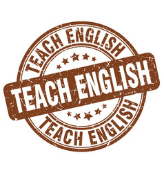 Teach english brown grunge stamp vector