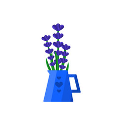 Template flat design with bouquet lavender vector