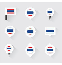 Thailand flag and pins for infographic and map vector