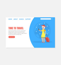 Time to travel landing page template senior woman vector