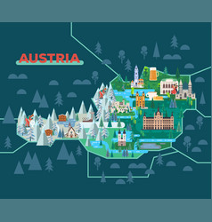 Travel map with landmarks austria vector
