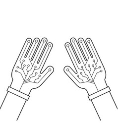 two black hands thin line with virtual gloves vector image