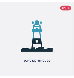 two color long lighthouse icon from nautical vector image
